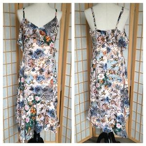 Rachael Roy Ruffle Asymmetrical Floral Dress 10